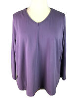 Denim and Co Womens Size 3X Purple Top Long Sleeve V Neck Cotton Stretch