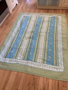 Pottery Barn Full Queen Quilt PB Teen Blue Green EMBROIDERY QUILTED