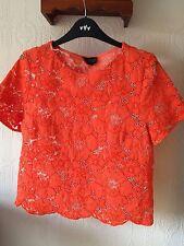 Top Shop Ladies Blouse Size 12 Orange VGC