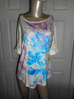 White Stag Women's L (12-14) Floral Print & Sequins Top Short Sleeve