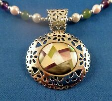"""Carolyn Pollack Relios Sterling Inlay PENDANT Pin SIGNED w 24"""" Bead necklace"""
