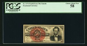 """1869-75 50 CENT FRACTIONAL CURRENCY FR-1374 """"LINCOLN"""" PCGS CHOICE ABOUT NEW-58"""