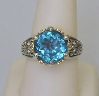 Konstantino Blue Topaz Ring Size 6 Faceted Sterling Silver 18K Yellow Gold New