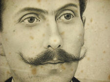 Drawing Original Charcoal Signed Artist? 1870 Portrait Of Young Man Moustache