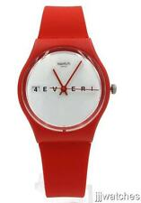 New Swatch Originals 4EVERFEVER Red Silicone Watch 34mm GR404 $60