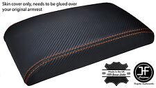 Puntadas de hilo naranja cubierta de fibra de carbono vinilo Apoyabrazos Encaja Subaru Impreza WRX STI 00-07