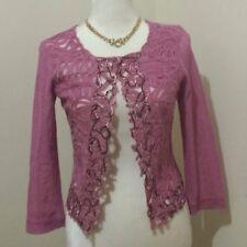 Gorgeous Italian Silk Lace Mesh Cardigan Jacket Pink Size XS, EUC