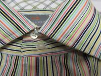 Thomas Dean XL shirt Long Sleeve dress double collar thick buttons front striped