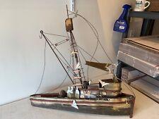 Huge 3ft Folk Art 3D Brass & Copper Fishing Boat Shil Nautical Signed By Artist