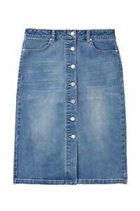 Joules Francesca Denim Midi Length Skirt - Light Denim