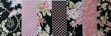 "ROBYN PANDOLPH - WORLD OF ROMANCE Black & Pink Florals - 5"" Charm Squares"