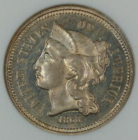 1868 3 Cent Nickel Proof Coin, ANACS PF-66 Cameo