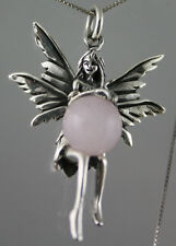 """Sterling Silver 9.42g Pink Crystal Ball Fairy Guardian Angel Pendant  +18"""" Chain"""