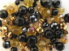 Glass Bead Mix / Bracelet Making Kit - Black & Gold - Opulence
