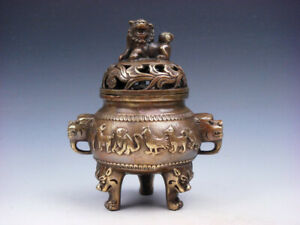 Vintage Brass Tripod Incense Burner 12 Zodiac Tiger Foo Dog Lion Lid #01222003