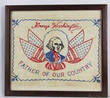 Antique Needlework Sampler- red/white/blue-G. Washington-Wood Frame w/Glass-Usa!