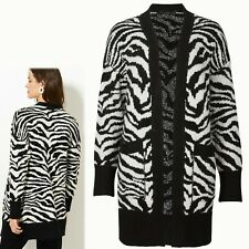 M&S Longline ANIMAL PRINT Open Front CARDIGAN ~ Size L ~ BLACK Mix