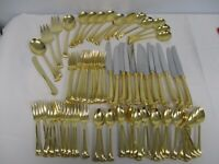 77 PCS SET FOR 12 TOWLE SUPREME GOLD ARISTOCRAT GOLD ELECTROPLATE FLATWARE MINTY