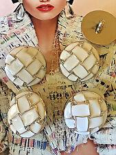 5x CC Knöpfe Chanel 3cm Jacke Mantel Kostüm Kleid Hose Logo Gold Weiß Gold