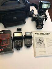 Vintage Camera Lot Pentax ZX5 28-80 Lens Vivitar 2 283 & 2800 Flash Case Logic