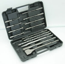 14pc Masonry Drill Bit Chisel Kit SDS Plus Portable Tool Case Hammer Set tool
