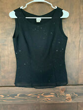 SALLY USA Black Sequin Cocktail Top Sexy Zip down Blouse Women's Size S