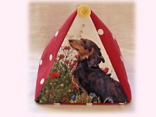 DACHSHUND black DOG DESIGN FABRIC DOORSTOP SANDRA COEN ARTIST PAINTING PRINT