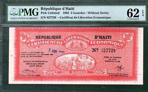 Haiti P-Unlisted 5 Gourdes 1962 PMG Unc 62 Rare