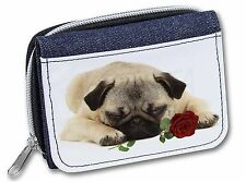 Pug Dog with a Red Rose Girls/Ladies Denim Purse Wallet Christmas Gif, AD-P92RJW