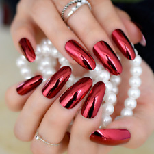 LONG METALLIC *RED* Full Cover OVAL Press On 24 Nail Tips + Glue!