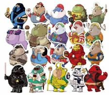 Superheroes Funny Plump Characters Assorted Decals Lot of 32 Stickers