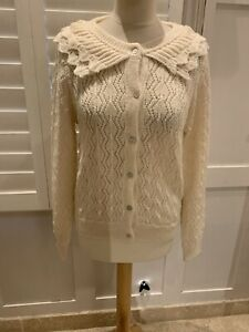 SOFIE SCHNOOR CREAM EMBROIDERED WOOL/MOHAIR KNIT CARDIGAN Med