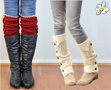 BOOT Leg Warmer Button Detail Knitted  *Dakota* USA Seller FREE SHIP