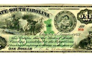 """$1 """"SOUTH CAROLINA"""" ( CRISPY) RARE $1 """"SOUTH CAROLINA"""" 1800'S SUPER CRISPY!!!!"""