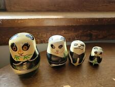 Wooden Panda Nesting Dolls Made in China 4 pcs