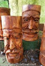 HAND INTAGLIATI IN LEGNO VERDE FORESTA Uomo Bamboo FIORIERA GIARDINO PIANTA VASO GRANDE 25 cm