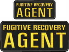 FUGITIVE RECOVERY AGENT EMBROIDERY PATCH 4X10 AND 2X5 HOOK  BLK/GOLD