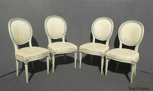 Four Mount Airy Vintage French Provincial White Dining Chairs French Country