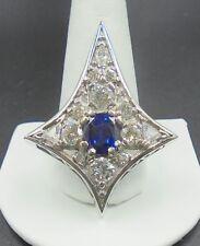 Beautiful Sapphire 4.08 ct pendant 18k white gold with diamonds EGL AGL unheated