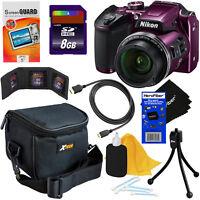 Nikon COOLPIX B500 16MP Wi-Fi Digital Camera w/40x Zoom (Plum) + 8pc 8GB Acc Kit