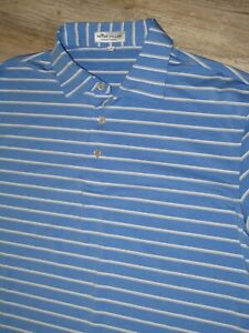 MENS GOLF SHIRT PETER MILLAR SUMMER COMFORT STRIPED SHIRT VG CONDITION CHEST  42