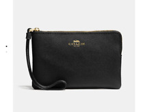 NWT COACH F58032 Corner Zip Wristlet Black Leather iPhone or Android $78