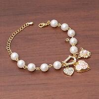 1X Women Girls Crystal Pearls Heart Gold Filled Cuff Chain Bracelet Jewelry Hot