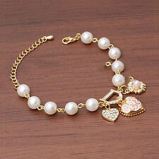 1X Girls Women Crystal Pearls Heart Gold Filled Cuff Chain Bracelet Jewelry
