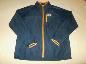 UNDER ARMOUR FULL ZIP NAVY BLUE WINDBREAKER RUNNING JACKET MENS LARGE EXCELLENT