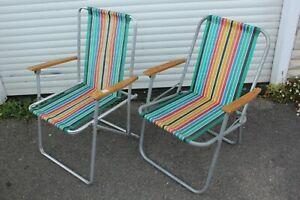 Vintage Folding Garden Deck Chair Pair Camping VW Striped Camper Wooden Arm Rest