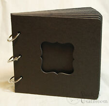 """Black Chipboard Album 5.5""""x5.75"""" bracket frame window front 10 pages 3 rings"""