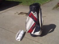 "Classic Miller Red/White/Blue 8.5"" Leather and Vinyl Staff Golf Bag"