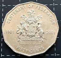 2001 AUSTRALIAN 50 CENT COIN CENTENARY OF FEDERATION - NORFOLK ISLAND N.I