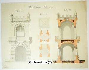 Architecture Dessin à Main Ponts Tour Dessin Um 1870/80 Déco Vintage Drawing